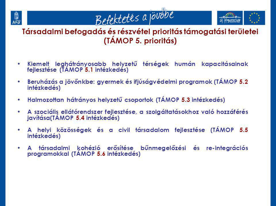 Társadalmi befogadás és részvétel prioritás támogatási területei (TÁMOP 5.
