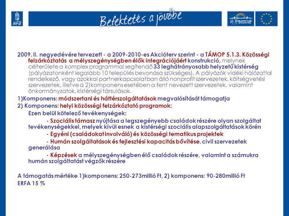 2009. II. negyedévére tervezett - a 2009-2010-es Akcióterv szerint - a TÁMOP 5.1.3. Közösségi felzárkóztatás a mélyszegénységben élők integrációjáért
