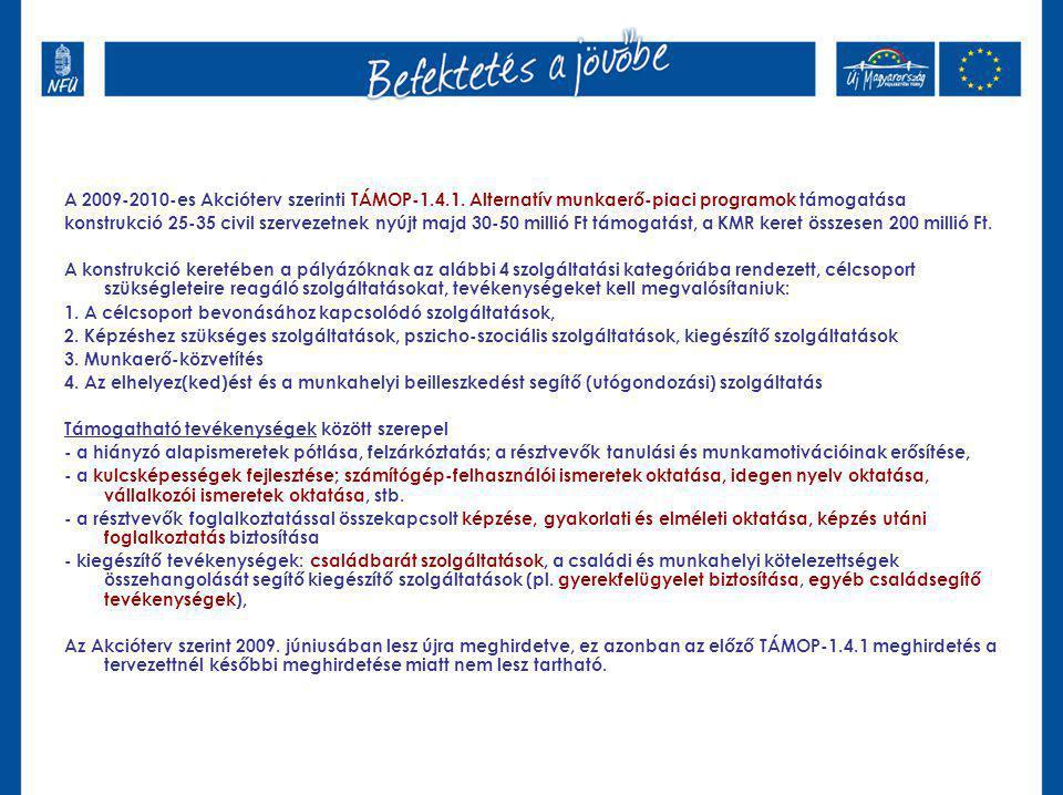 A 2009-2010-es Akcióterv szerinti TÁMOP-1.4.1. Alternatív munkaerő-piaci programok támogatása konstrukció 25-35 civil szervezetnek nyújt majd 30-50 mi