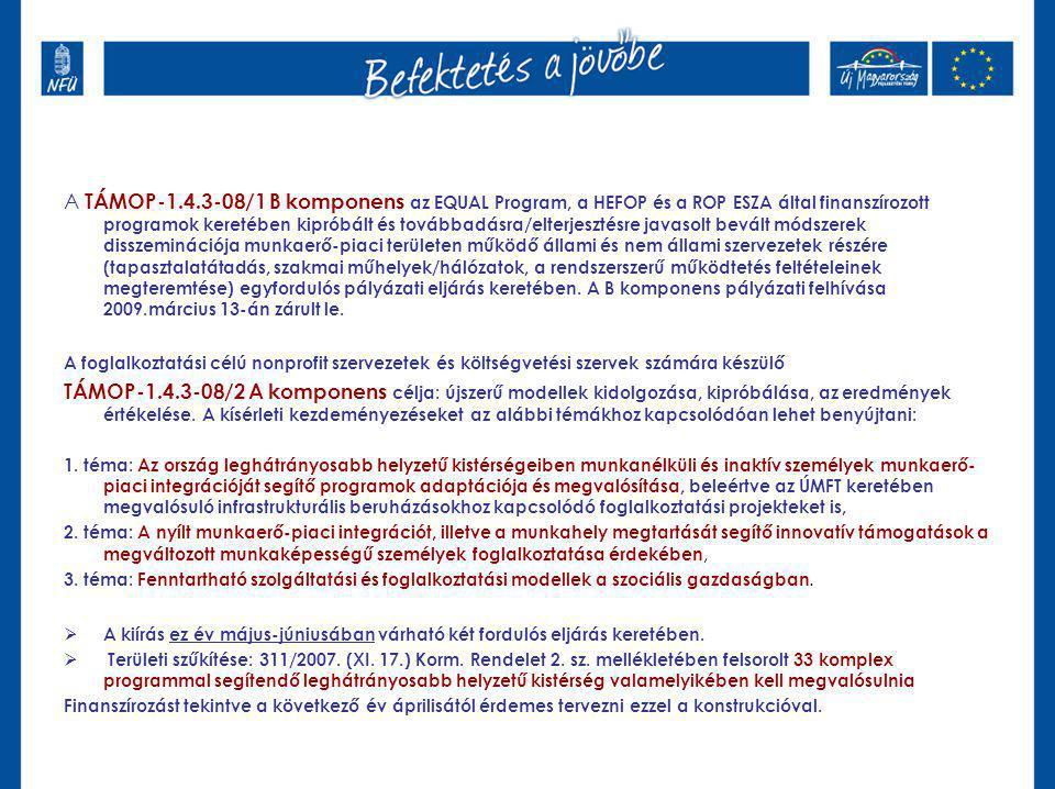 A TÁMOP-1.4.3-08/1 B komponens az EQUAL Program, a HEFOP és a ROP ESZA által finanszírozott programok keretében kipróbált és továbbadásra/elterjesztésre javasolt bevált módszerek disszeminációja munkaerő-piaci területen működő állami és nem állami szervezetek részére (tapasztalatátadás, szakmai műhelyek/hálózatok, a rendszerszerű működtetés feltételeinek megteremtése) egyfordulós pályázati eljárás keretében.