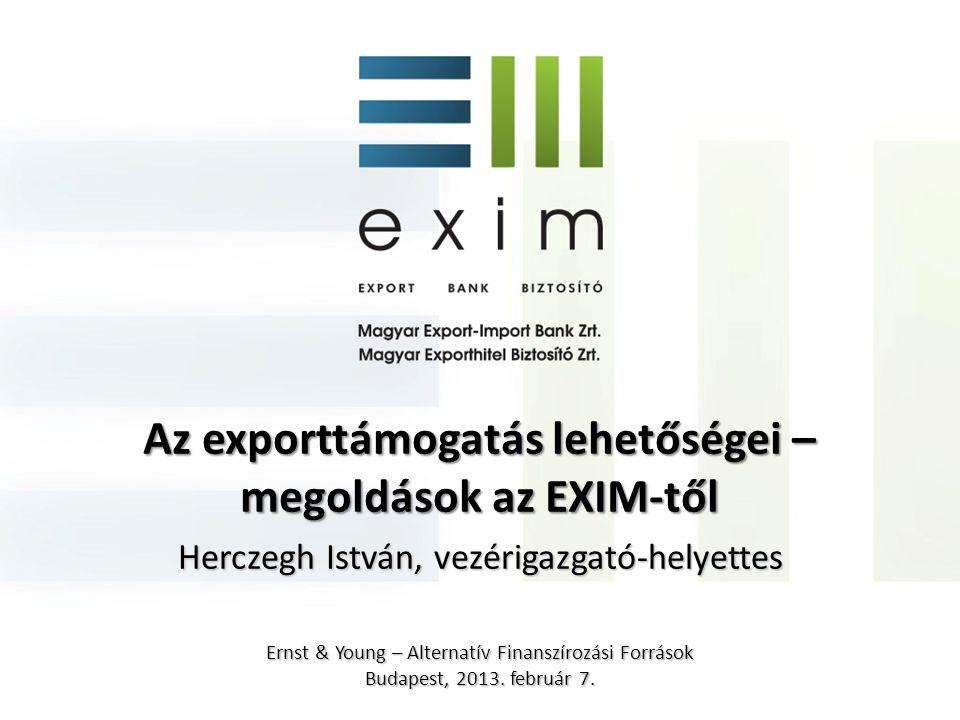 Állami exportösztönzés területei • Külgazdaság-politikai szakmai irányítás • Befektetés-ösztönzés • Külpiaci promóció • Kockázatvállalás • Finanszírozás erre specializálódott intézmények: exporthitel ügynökségek (ECA) Exportképes, elsősorban KKV szektor részére termékek és szolgáltatások nyújtása Nemzetközi környezet: • WTO Szubvenciós kódex • OECD Megállapodás Egyenlő feltételrendszer az államok között = az exportőrök versenyezzenek, ne az állami támogatások.