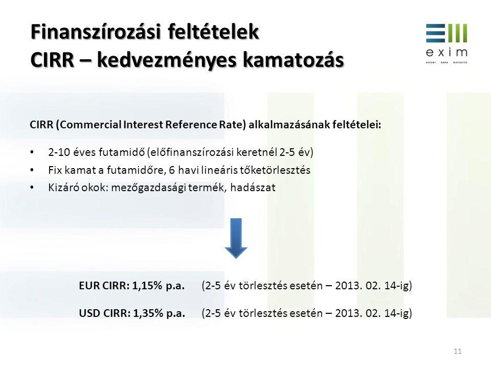 Finanszírozási feltételek CIRR – kedvezményes kamatozás 11 CIRR (Commercial Interest Reference Rate) alkalmazásának feltételei: • 2-10 éves futamidő (előfinanszírozási keretnél 2-5 év) • Fix kamat a futamidőre, 6 havi lineáris tőketörlesztés • Kizáró okok: mezőgazdasági termék, hadászat EUR CIRR: 1,15% p.a.(2-5 év törlesztés esetén – 2013.