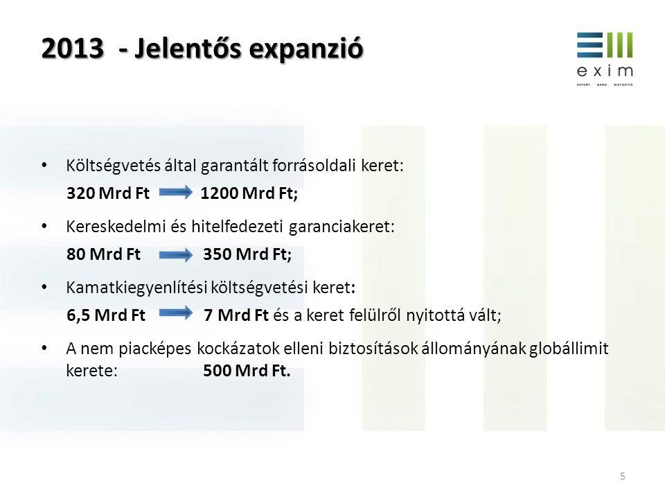 2013 - Jelentős expanzió 5 • Költségvetés által garantált forrásoldali keret: 320 Mrd Ft 1200 Mrd Ft; • Kereskedelmi és hitelfedezeti garanciakeret: 80 Mrd Ft 350 Mrd Ft; • Kamatkiegyenlítési költségvetési keret: 6,5 Mrd Ft 7 Mrd Ft és a keret felülről nyitottá vált; • A nem piacképes kockázatok elleni biztosítások állományának globállimit kerete: 500 Mrd Ft.