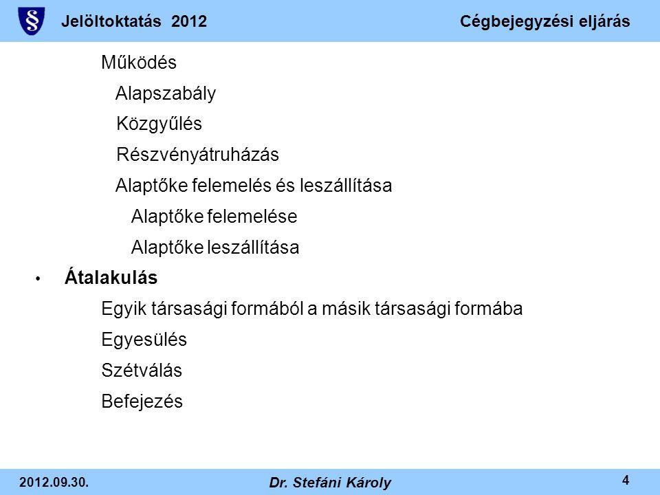 Jelöltoktatás 2012Cégbejegyzési eljárás 2012.09.30. Dr. Stefáni Károly 4 Működés Alapszabály Közgyűlés Részvényátruházás Alaptőke felemelés és leszáll