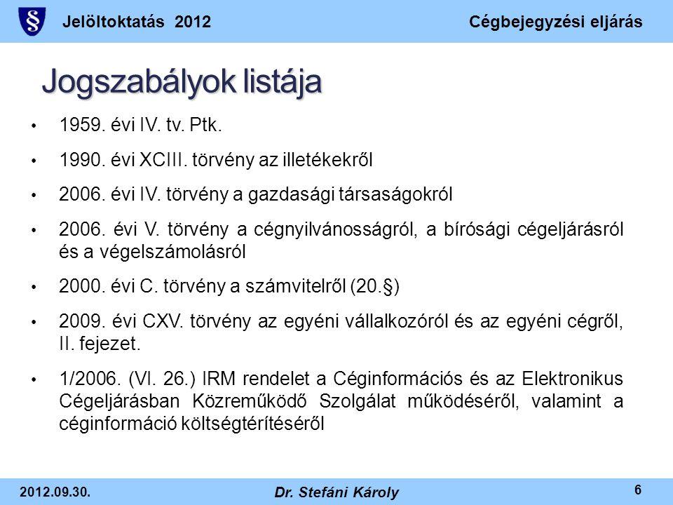 Jelöltoktatás 2012Cégbejegyzési eljárás 2012.09.30. Dr. Stefáni Károly 6 Jogszabályok listája • 1959. évi IV. tv. Ptk. • 1990. évi XCIII. törvény az i