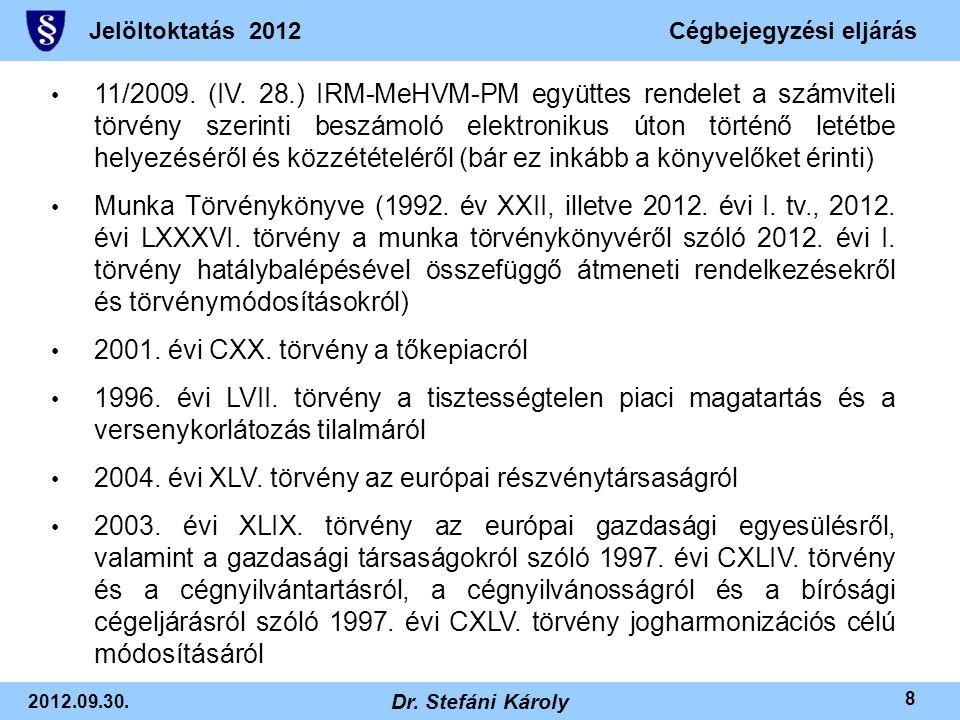 Jelöltoktatás 2012Cégbejegyzési eljárás 2012.09.30. Dr. Stefáni Károly 8 • 11/2009. (IV. 28.) IRM-MeHVM-PM együttes rendelet a számviteli törvény szer