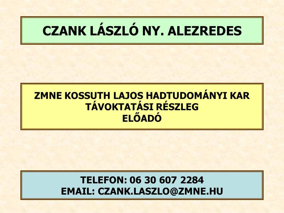 C) FEJEZET ÁLTALÁNOS KATONAI ISMERETEK 7.