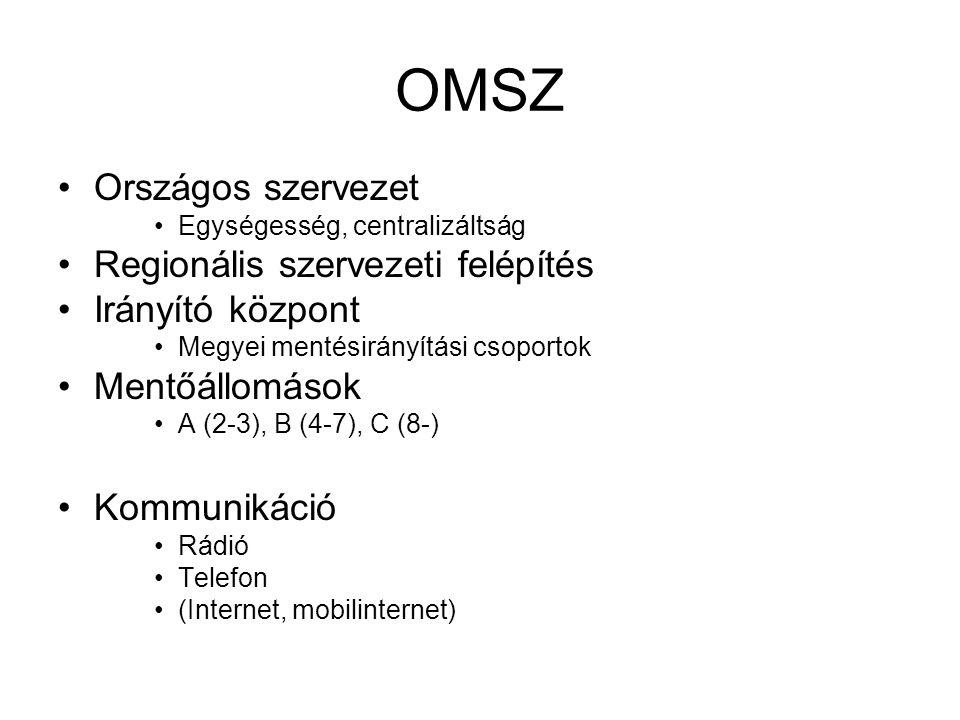 OMSZ •Országos szervezet •Egységesség, centralizáltság •Regionális szervezeti felépítés •Irányító központ •Megyei mentésirányítási csoportok •Mentőáll