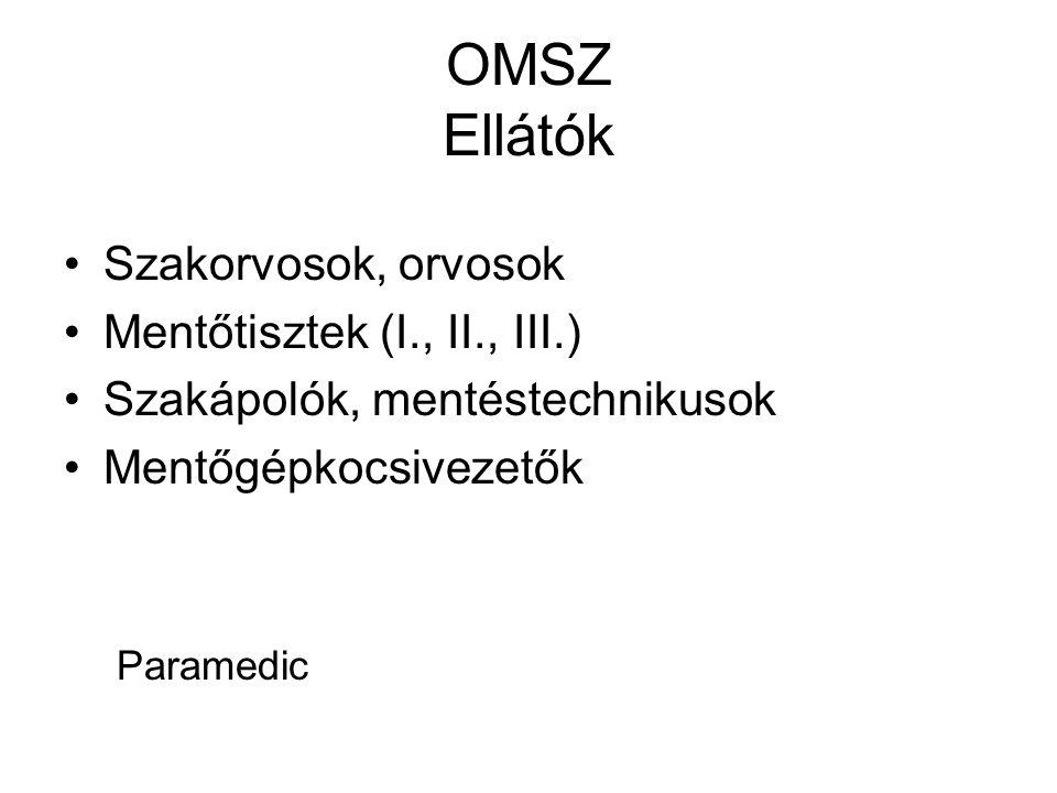 OMSZ Ellátók •Szakorvosok, orvosok •Mentőtisztek (I., II., III.) •Szakápolók, mentéstechnikusok •Mentőgépkocsivezetők Paramedic