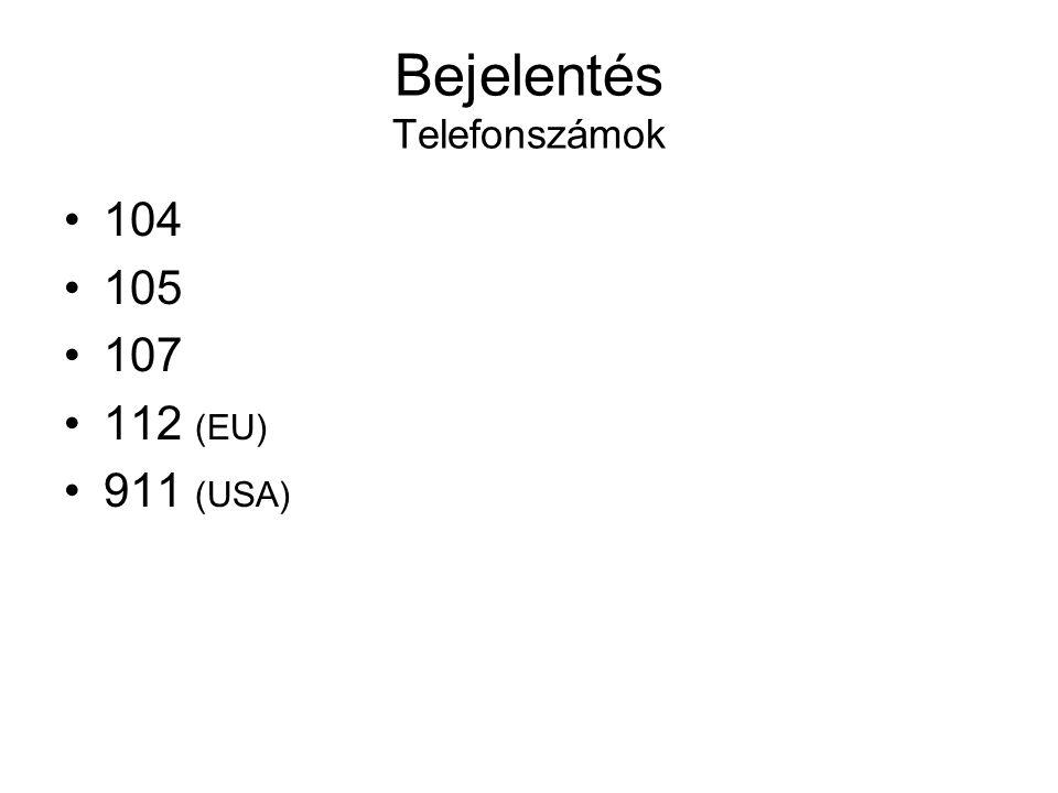 Bejelentés Telefonszámok •104 •105 •107 •112 (EU) •911 (USA)