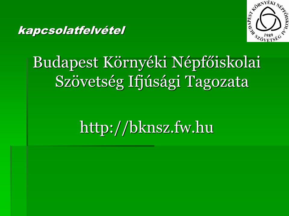 kapcsolatfelvétel Budapest Környéki Népfőiskolai Szövetség Ifjúsági Tagozata http://bknsz.fw.hu