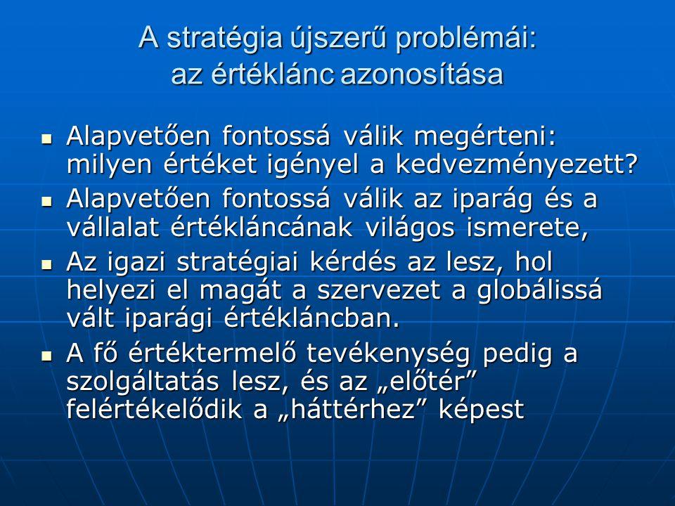 A stratégia újszerű problémái: az értéklánc azonosítása  Alapvetően fontossá válik megérteni: milyen értéket igényel a kedvezményezett?  Alapvetően