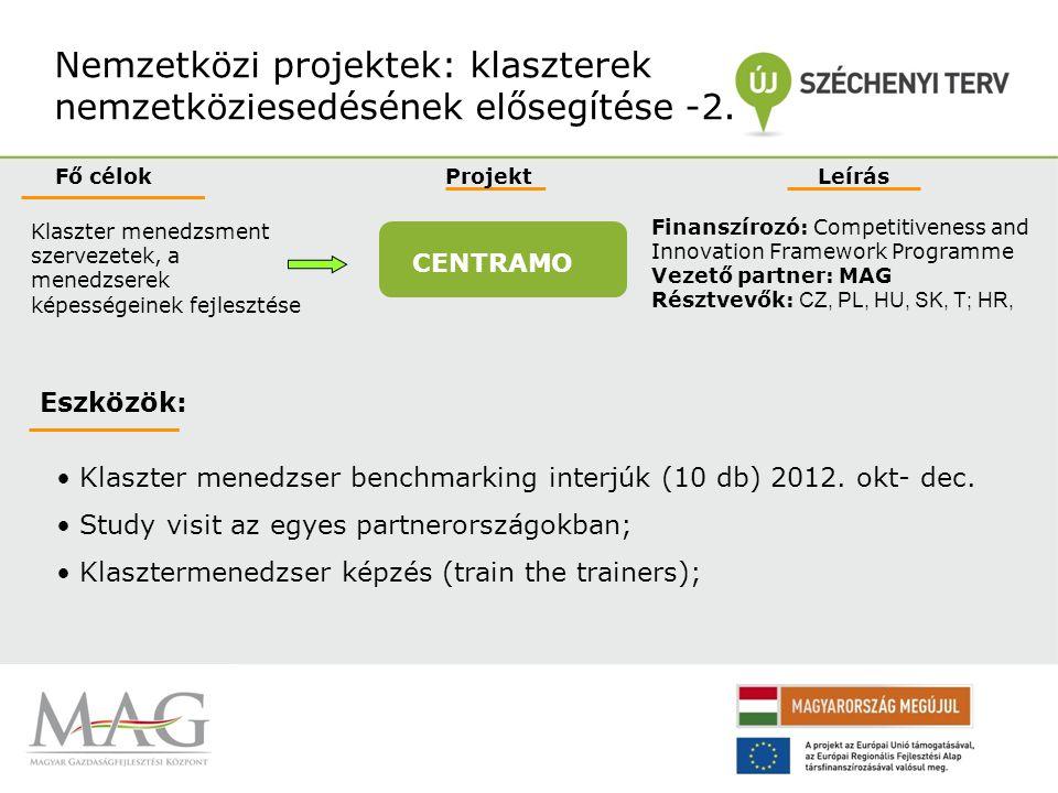 Nemzetközi projektek: klaszterek nemzetköziesedésének elősegítése -3.