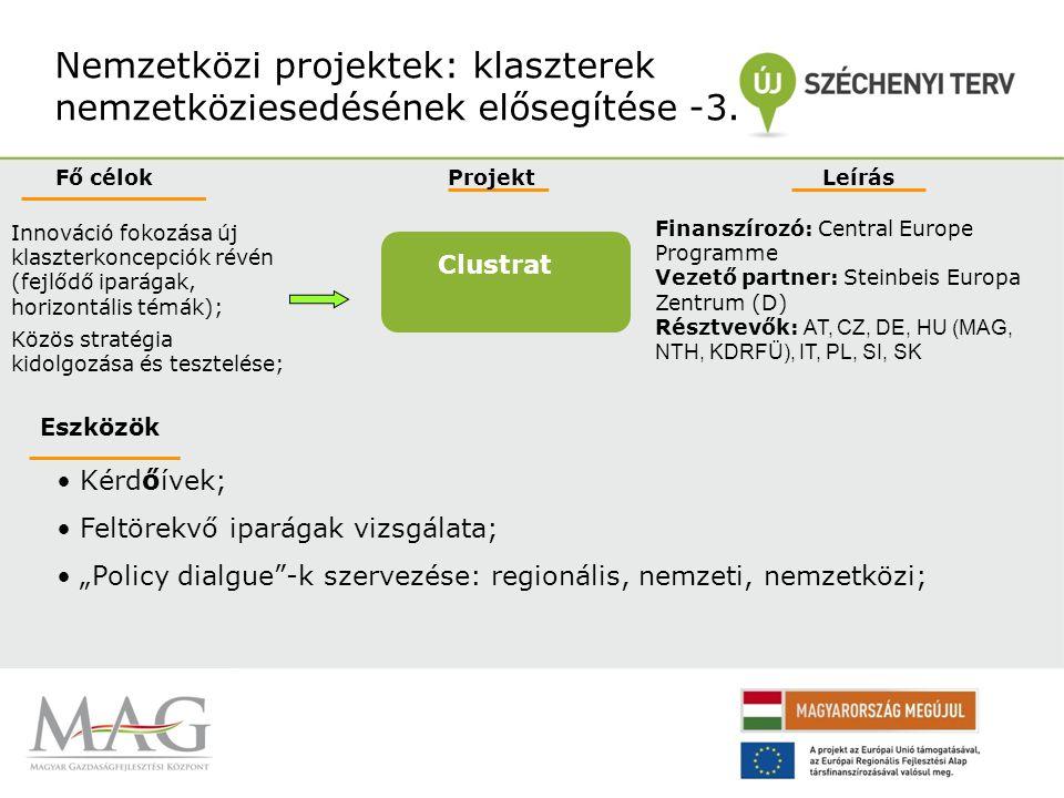Nemzetközi projektek: klaszterek nemzetköziesedésének elősegítése -4.