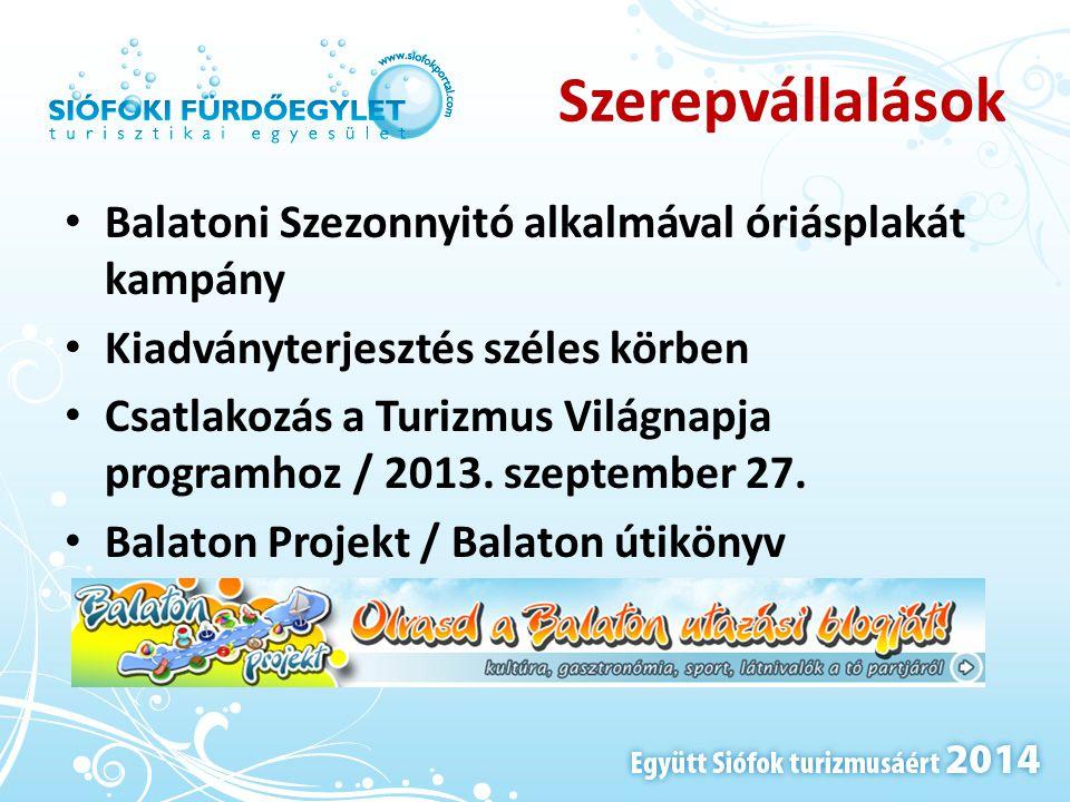 Szerepvállalások • Balatoni Szezonnyitó alkalmával óriásplakát kampány • Kiadványterjesztés széles körben • Csatlakozás a Turizmus Világnapja programh