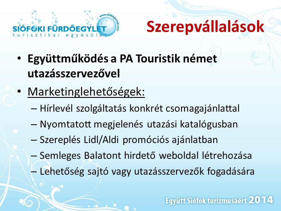 Szerepvállalások • Együttműködés a PA Touristik német utazásszervezővel • Marketinglehetőségek: – Hírlevél szolgáltatás konkrét csomagajánlattal – Nyo