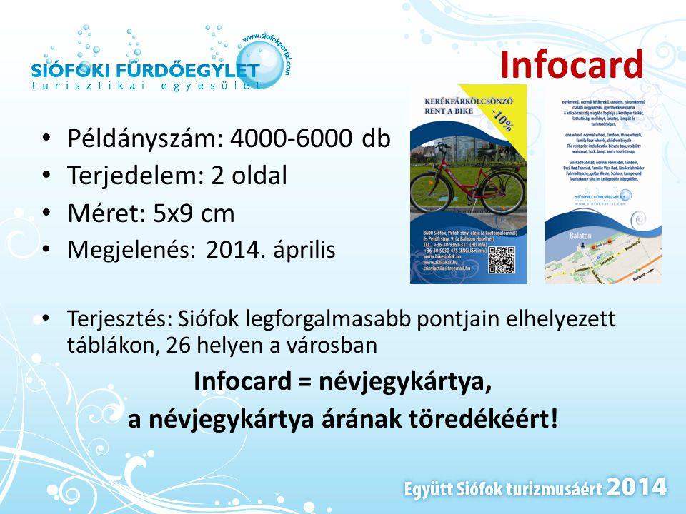Infocard • Példányszám: 4000-6000 db • Terjedelem: 2 oldal • Méret: 5x9 cm • Megjelenés: 2014. április • Terjesztés: Siófok legforgalmasabb pontjain e