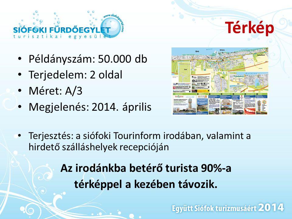 Térkép • Példányszám: 50.000 db • Terjedelem: 2 oldal • Méret: A/3 • Megjelenés: 2014. április • Terjesztés: a siófoki Tourinform irodában, valamint a