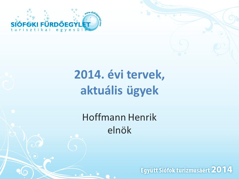 2014. évi tervek, aktuális ügyek Hoffmann Henrik elnök
