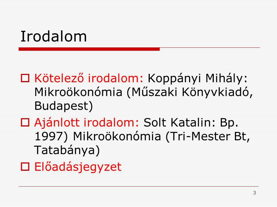 3 Irodalom  Kötelező irodalom: Koppányi Mihály: Mikroökonómia (Műszaki Könyvkiadó, Budapest)  Ajánlott irodalom: Solt Katalin: Bp.