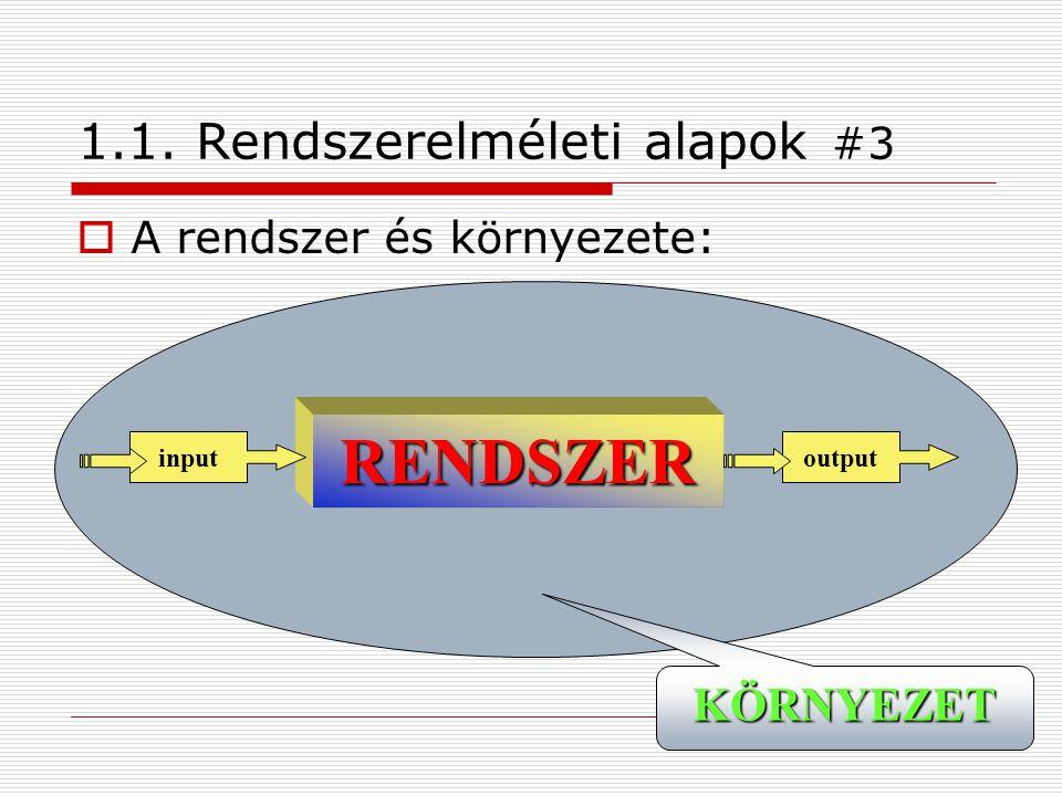 7 1.1. Rendszerelméleti alapok #3  A rendszer és környezete: RENDSZER inputoutput KÖRNYEZET