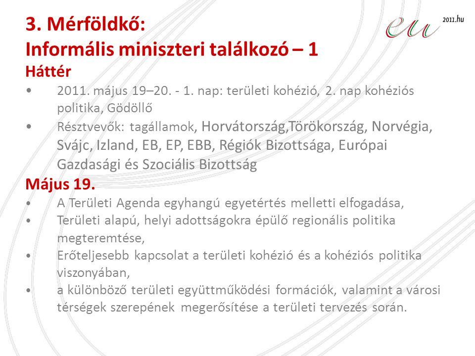 Háttér •2011. május 19–20. - 1. nap: területi kohézió, 2. nap kohéziós politika, Gödöllő •Résztvevők: tagállamok, Horvátország,Törökország, Norvégia,
