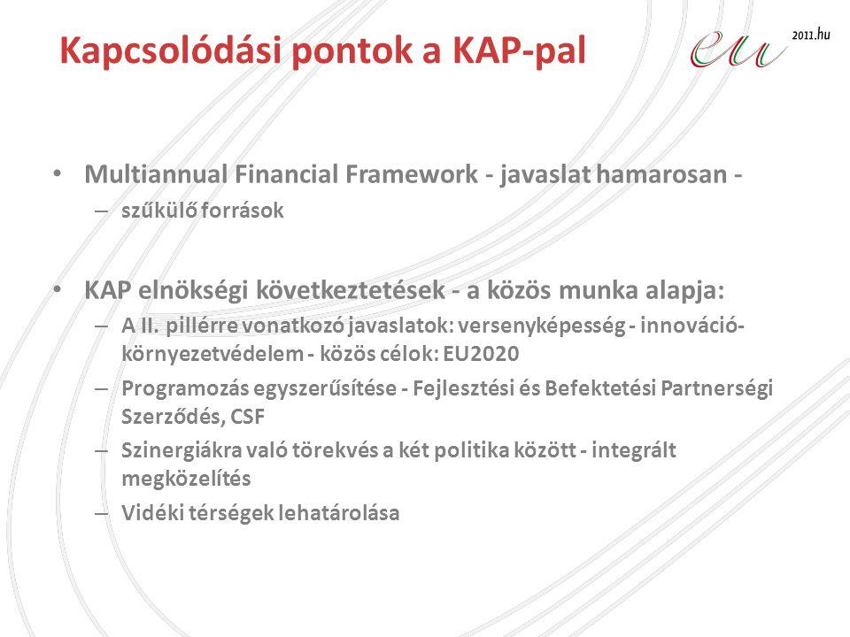 Kapcsolódási pontok a KAP-pal • Multiannual Financial Framework - javaslat hamarosan - – szűkülő források • KAP elnökségi következtetések - a közös mu