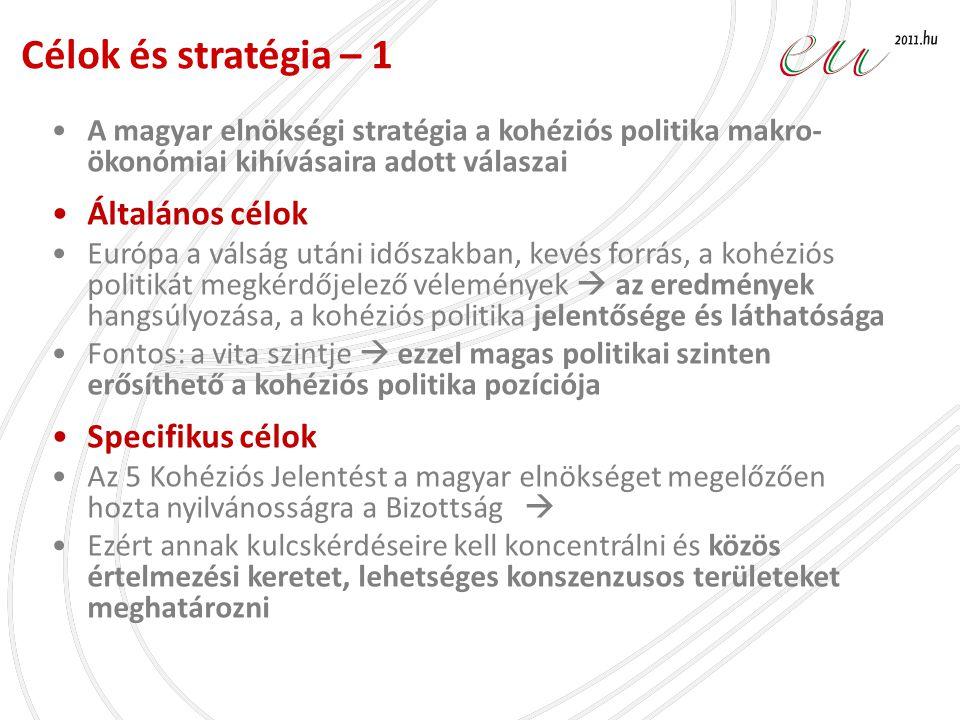 •A magyar elnökségi stratégia a kohéziós politika makro- ökonómiai kihívásaira adott válaszai •Általános célok •Európa a válság utáni időszakban, kevé