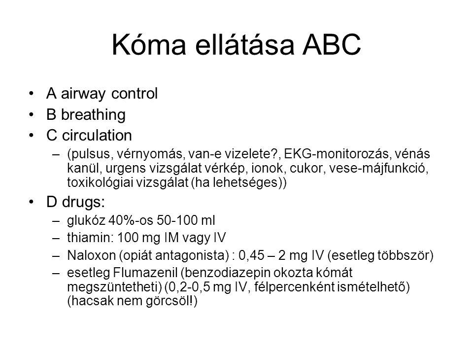 Kóma ellátása ABC •A airway control •B breathing •C circulation –(pulsus, vérnyomás, van-e vizelete?, EKG-monitorozás, vénás kanül, urgens vizsgálat v
