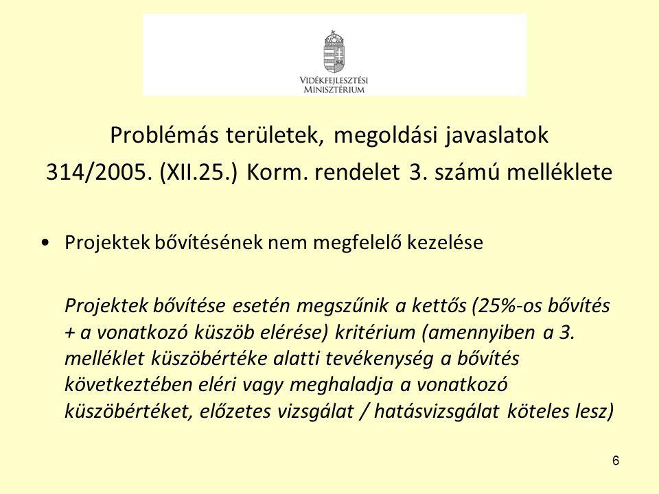 6 Problémás területek, megoldási javaslatok 314/2005. (XII.25.) Korm. rendelet 3. számú melléklete •Projektek bővítésének nem megfelelő kezelése Proje