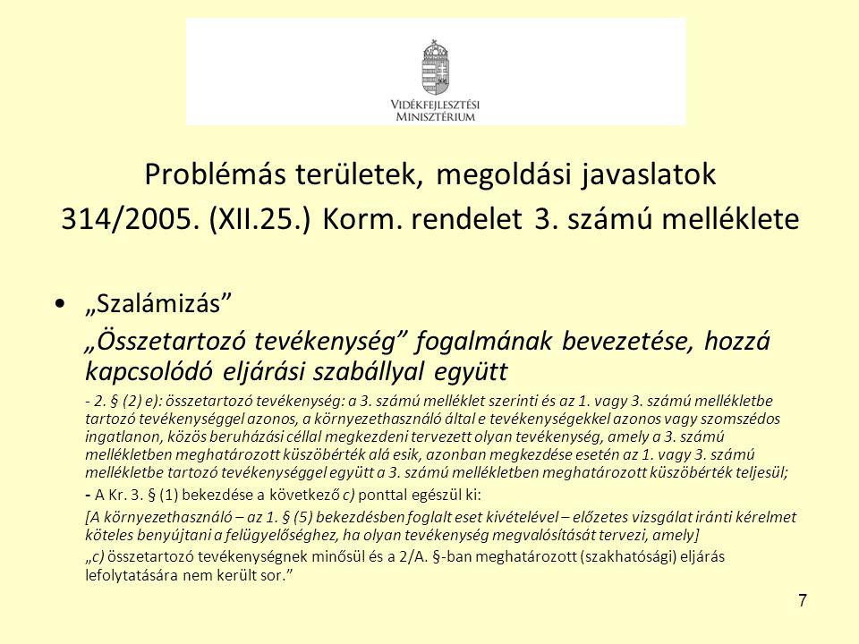"""7 Problémás területek, megoldási javaslatok 314/2005. (XII.25.) Korm. rendelet 3. számú melléklete •""""Szalámizás"""" """"Összetartozó tevékenység"""" fogalmának"""