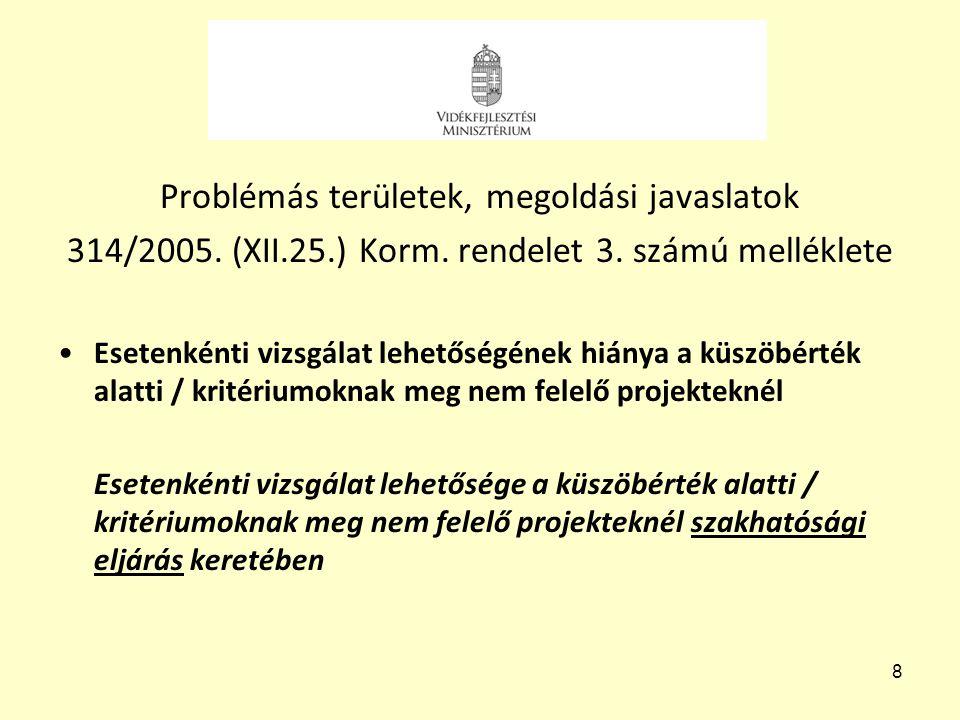 8 Problémás területek, megoldási javaslatok 314/2005. (XII.25.) Korm. rendelet 3. számú melléklete •Esetenkénti vizsgálat lehetőségének hiánya a küszö