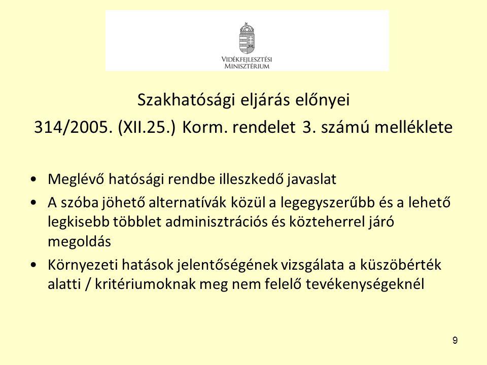 9 Szakhatósági eljárás előnyei 314/2005. (XII.25.) Korm. rendelet 3. számú melléklete •Meglévő hatósági rendbe illeszkedő javaslat •A szóba jöhető alt