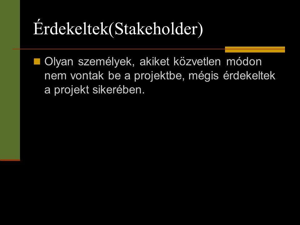 Érdekeltek(Stakeholder)  Olyan személyek, akiket közvetlen módon nem vontak be a projektbe, mégis érdekeltek a projekt sikerében.
