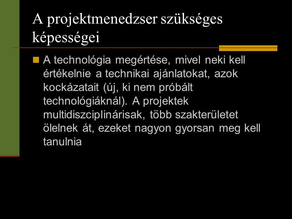 A projektmenedzser szükséges képességei  A technológia megértése, mivel neki kell értékelnie a technikai ajánlatokat, azok kockázatait (új, ki nem pr