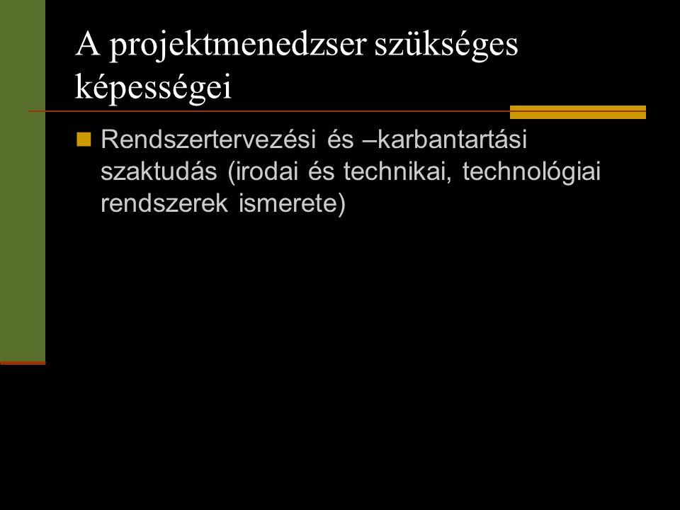 A projektmenedzser szükséges képességei  Rendszertervezési és –karbantartási szaktudás (irodai és technikai, technológiai rendszerek ismerete)