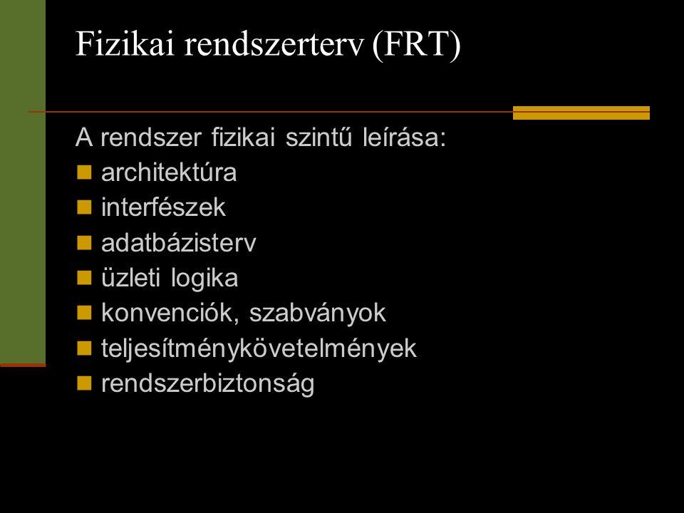 Fizikai rendszerterv (FRT) A rendszer fizikai szintű leírása:  architektúra  interfészek  adatbázisterv  üzleti logika  konvenciók, szabványok 