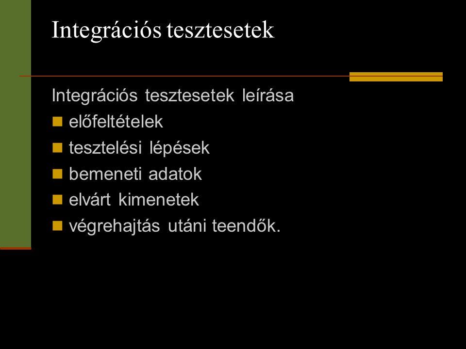 Integrációs tesztesetek Integrációs tesztesetek leírása  előfeltételek  tesztelési lépések  bemeneti adatok  elvárt kimenetek  végrehajtás utáni