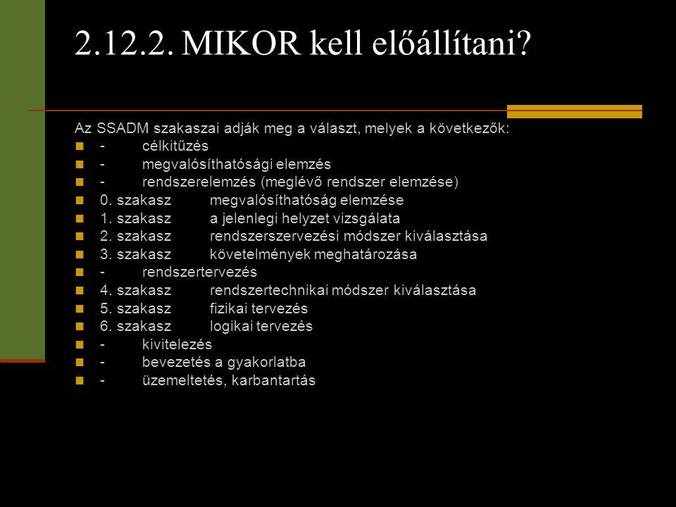 2.12.2. MIKOR kell előállítani? Az SSADM szakaszai adják meg a választ, melyek a következők:  -célkitűzés  -megvalósíthatósági elemzés  -rendszerel