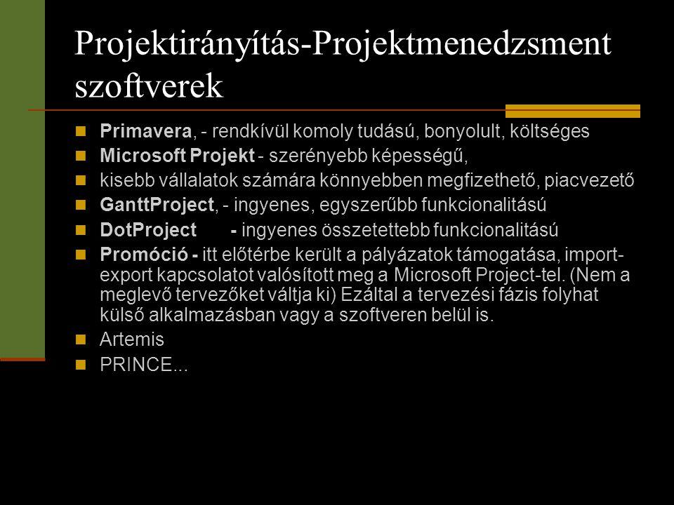 Projektirányítás-Projektmenedzsment szoftverek  Primavera, - rendkívül komoly tudású, bonyolult, költséges  Microsoft Projekt - szerényebb képességű