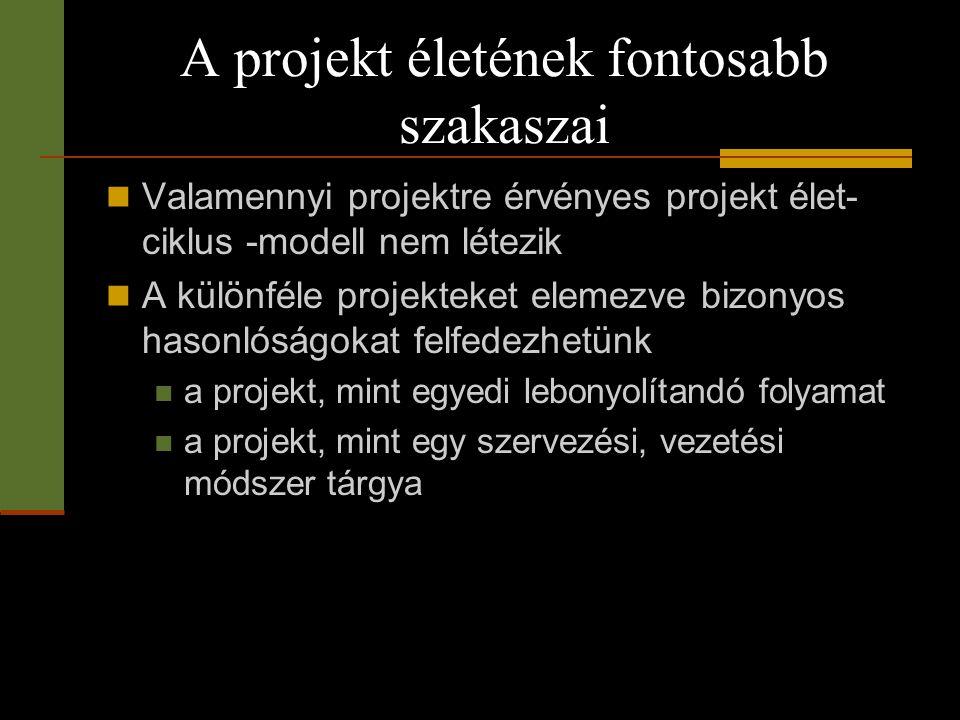 A projekt életének fontosabb szakaszai  Valamennyi projektre érvényes projekt élet- ciklus -modell nem létezik  A különféle projekteket elemezve biz