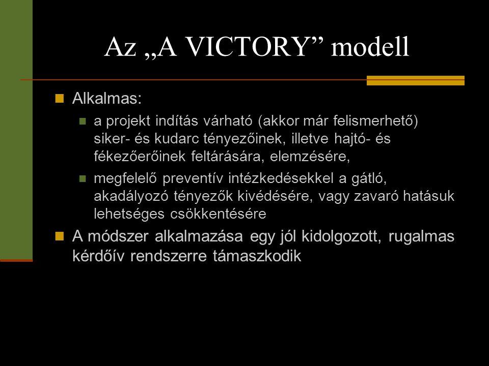 """Az """"A VICTORY"""" modell  Alkalmas:  a projekt indítás várható (akkor már felismerhető) siker- és kudarc tényezőinek, illetve hajtó- és fékezőerőinek f"""