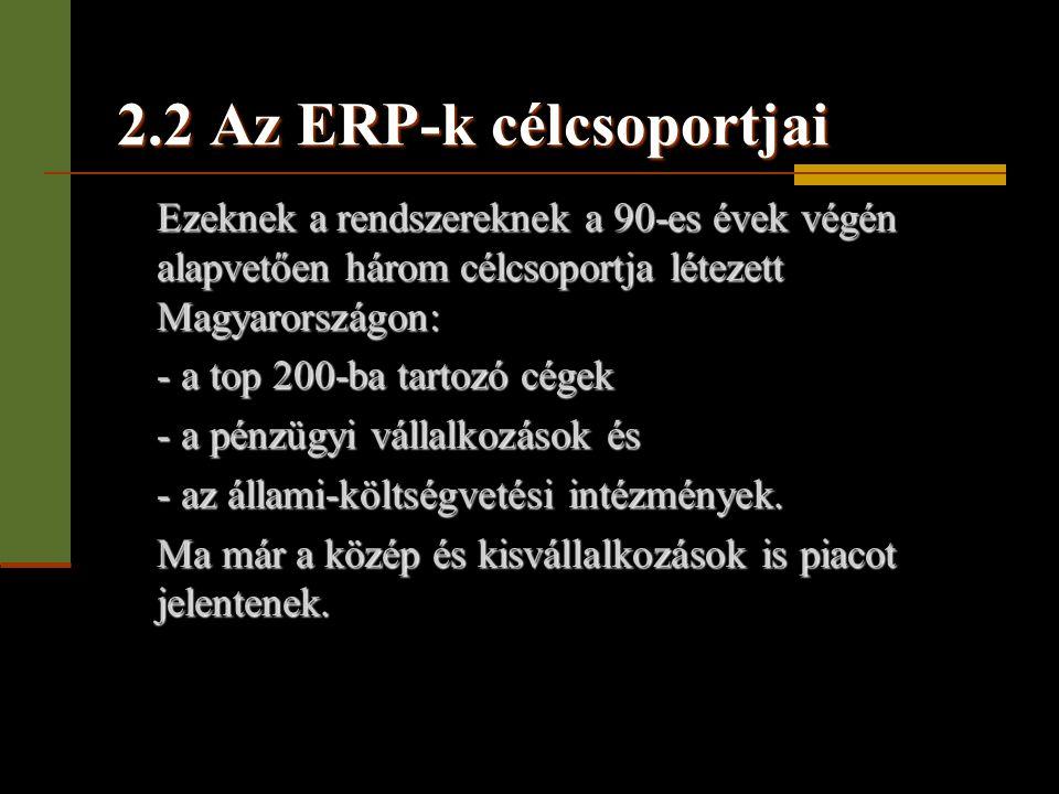 2.2 Az ERP-k célcsoportjai Ezeknek a rendszereknek a 90-es évek végén alapvetően három célcsoportja létezett Magyarországon: - a top 200-ba tartozó cé