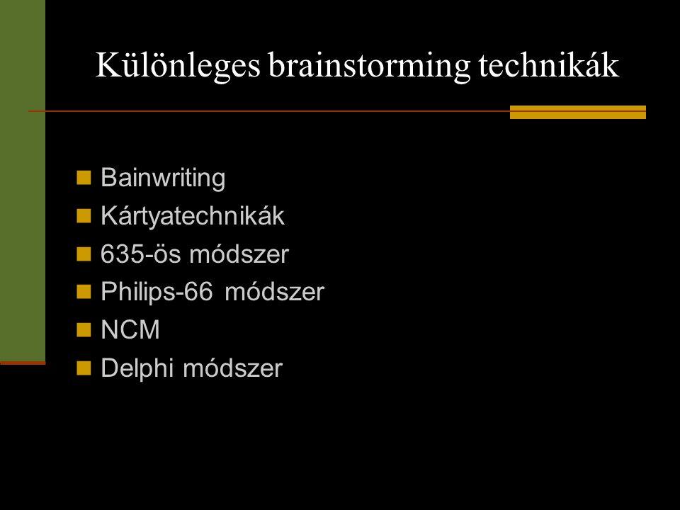 Különleges brainstorming technikák  Bainwriting  Kártyatechnikák  635-ös módszer  Philips-66 módszer  NCM  Delphi módszer