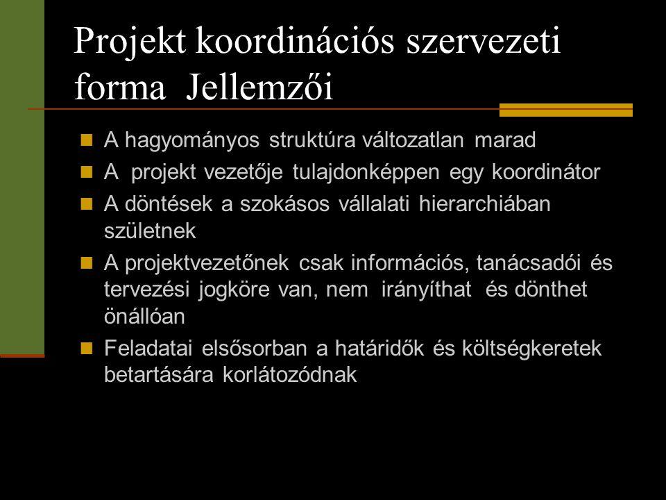 Projekt koordinációs szervezeti forma Jellemzői  A hagyományos struktúra változatlan marad  A projekt vezetője tulajdonképpen egy koordinátor  A dö