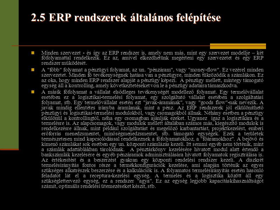 2.5 ERP rendszerek általános felépítése  Minden szervezet - és így az ERP rendszer is, amely nem más, mint egy szervezet modellje – két főfolyamattal