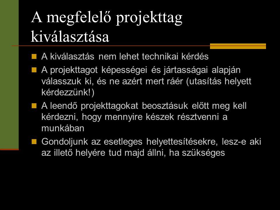  A kiválasztás nem lehet technikai kérdés  A projekttagot képességei és jártasságai alapján válasszuk ki, és ne azért mert ráér (utasítás helyett ké