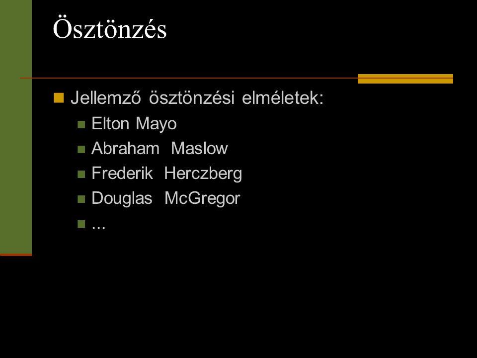 Ösztönzés  Jellemző ösztönzési elméletek:  Elton Mayo  Abraham Maslow  Frederik Herczberg  Douglas McGregor ...