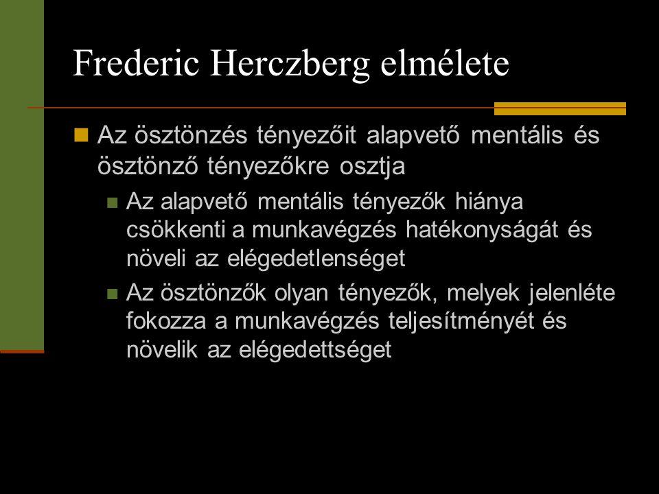 Frederic Herczberg elmélete  Az ösztönzés tényezőit alapvető mentális és ösztönző tényezőkre osztja  Az alapvető mentális tényezők hiánya csökkenti
