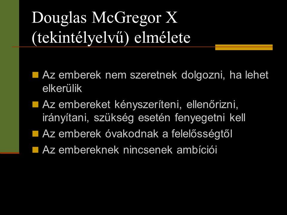 Douglas McGregor X (tekintélyelvű) elmélete  Az emberek nem szeretnek dolgozni, ha lehet elkerülik  Az embereket kényszeríteni, ellenőrizni, irányít